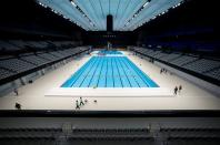 Tokyo Aquatics Centre, which will host artistic swimming, diving, and swimming events at the Tokyo Olympic and Paralympic games, is seen after the grand opening ceremony in Tokyo