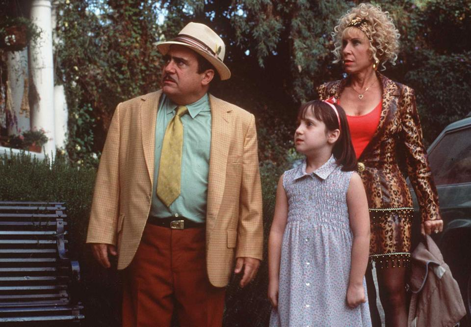 Danny DeVito, Mara Wilson and Rhea Perlman in Matilda. (Getty)