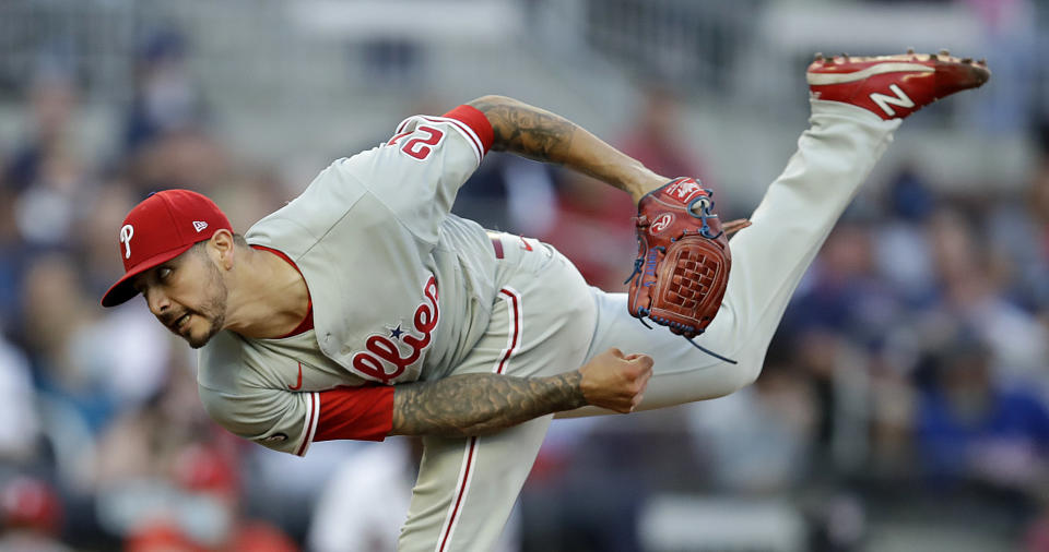 Philadelphia Phillies pitcher Vince Velasquez works against the Atlanta Braves in the first inning of a baseball game Saturday, May 8, 2021, in Atlanta. (AP Photo/Ben Margot)