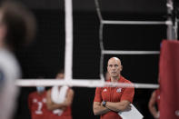 United States' head coach John Speraw stands on courtside during a men's volleyball preliminary round pool B match between the United States and Argentina, at the 2020 Summer Olympics, early Monday, Aug. 2, 2021, in Tokyo, Japan. (AP Photo/Manu Fernandez)