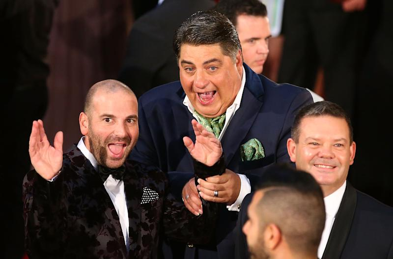 A photo of Matt Preston with fellow MasterChef judges George Calombaris and Gary Mehigan at the 58th Annual Logie Awards at Crown Palladium on May 8, 2016 in Melbourne, Australia.