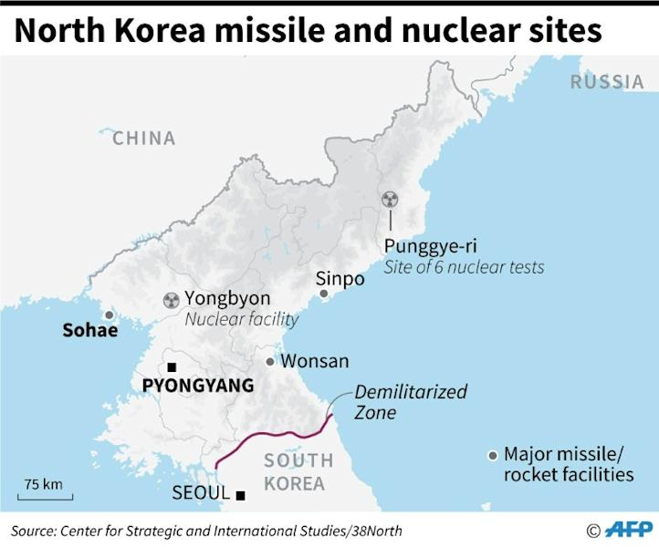 Major missile and nuclear sites in North Korea
