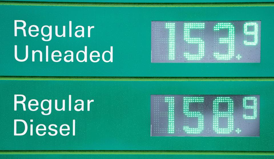 Fuel prices at a BP service station at Wetherby Services, near Leeds, on Monday (PA)