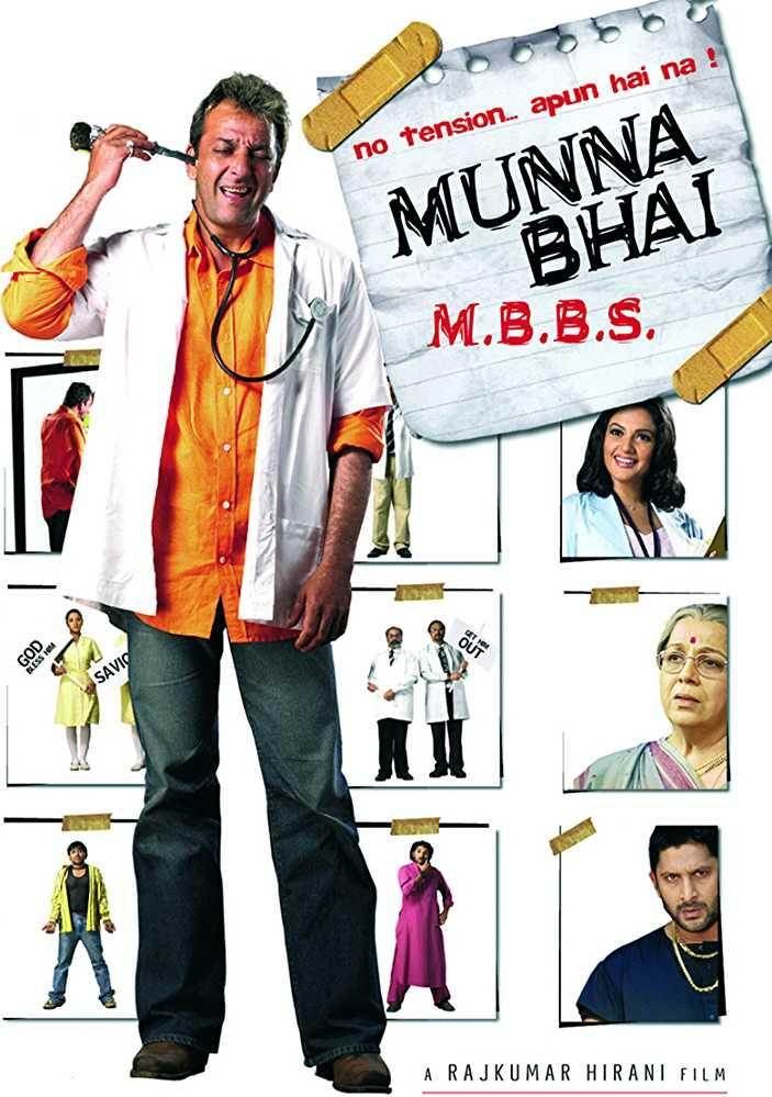 Directed by Rajkumar Hirani, the story involves protagonist Munna Bhai (Sanjay Dutt), a goon, going to medical school, to help fulfill his father's wish. He is helped by his sidekick, Circuit (Arshad Warsi).