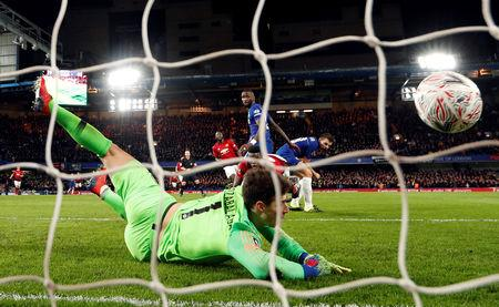 Soccer Football - FA Cup Fifth Round - Chelsea v Manchester United - Stamford Bridge, London, Britain - February 18, 2019  Manchester United's Paul Pogba scores their second goal   Action Images via Reuters/John Sibley