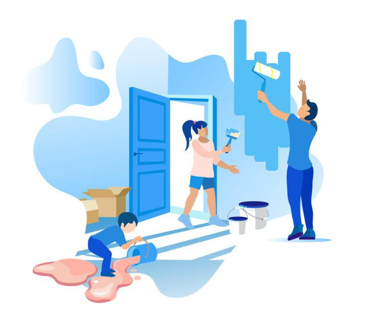 Home Improvements and Family Relationship Cartoon Flat Banner with Editable Promotion Text. Father Paints Walls Inside at Home. Daughter and Son Help. Boy Spilled Paint on Floor. Vector Illustration (Home Improvements and Family Relationship Cartoon F