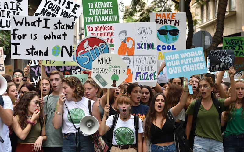 Students demonstrate at Syntagma Square in central Athens, Greece, on 20 September 2019, demanding action against climate change as part of the global stike called by the ''Fridays For Future'' movement. | NurPhoto/Getty Images
