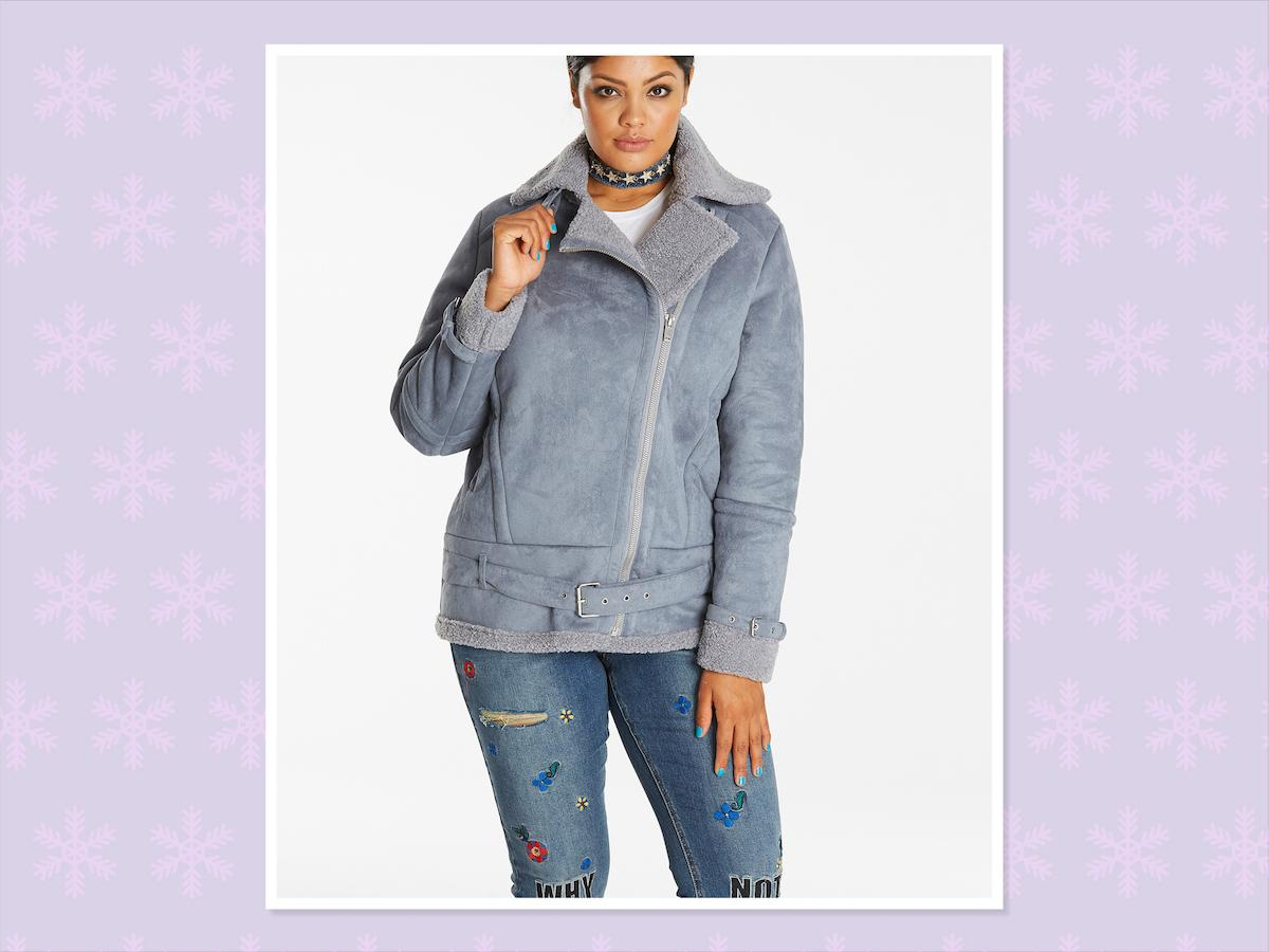 """<p>Aviator Borg lined coat, $130, <a rel=""""nofollow"""" href=""""https://www.simplybe.com/en-us/products/aviator-borg-lined-coat/p/ZG689#&mainSearch=true&outletSearch=false"""">Simply Be</a> (Photo: Simply Be) </p>"""