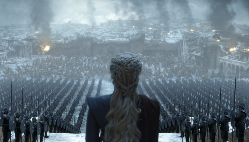 """This image released by HBO shows Emilia Clarke in a scene from the series finale of """"Game of Thrones."""" (HBO via AP)"""