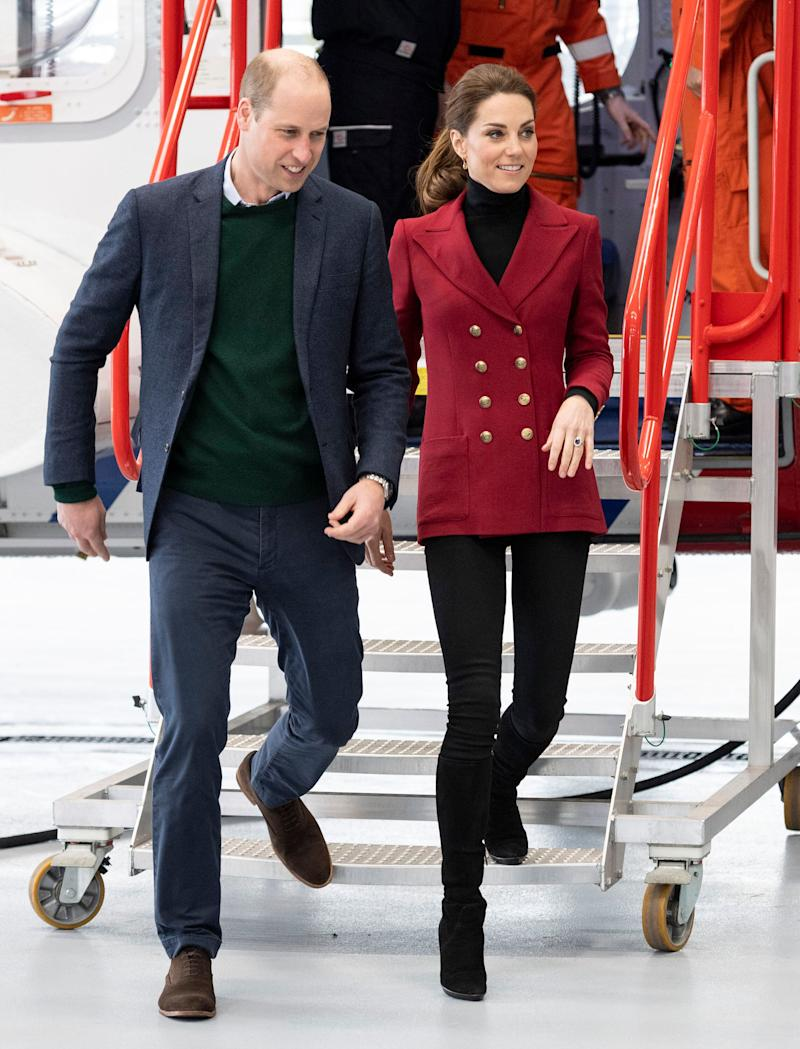 The duke and duchess visit the Caernarfon Coastguard Search and Rescue Helicopter Base during their visit to North Wales on May 8.