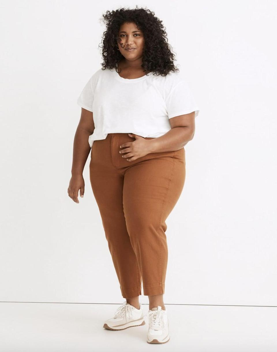 <p>The high-rise silhouette on these <span> Madewell Plus Slim Emmett Tapered Pants </span> ($88) is perfect if you love a high waist band. The coffee shade is too cute, and we're loving the vintage-detail pockets.</p>