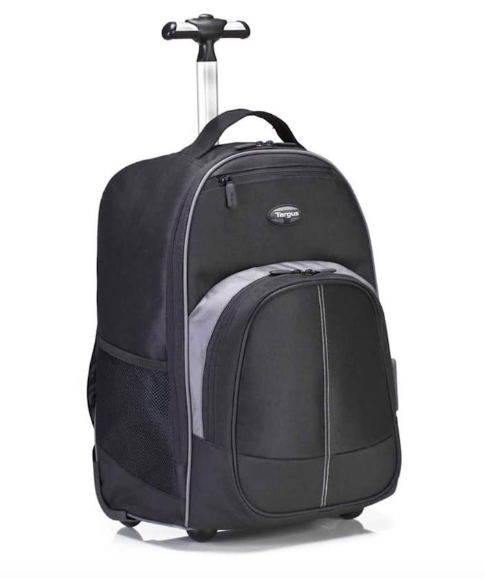 """Find this <a href=""""https://amzn.to/2D8VjBe"""" rel=""""nofollow noopener"""" target=""""_blank"""" data-ylk=""""slk:Targus Compact rolling backpack"""" class=""""link rapid-noclick-resp"""">Targus Compact rolling backpack</a> for $54 on <a href=""""https://amzn.to/2D8VjBe"""" rel=""""nofollow noopener"""" target=""""_blank"""" data-ylk=""""slk:Amazon"""" class=""""link rapid-noclick-resp"""">Amazon</a>."""