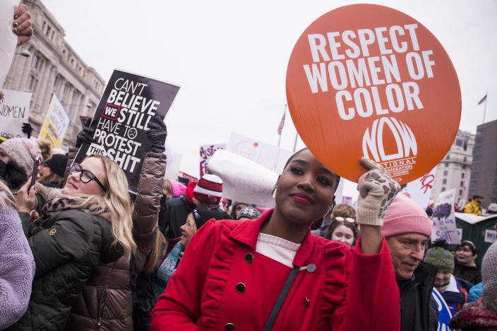 Demonstrators march down Pennsylvania Avenue during the 2019 Women's March on Jan. 19, 2019 in Washington. (Photo: Zach Gibson/Getty Images)