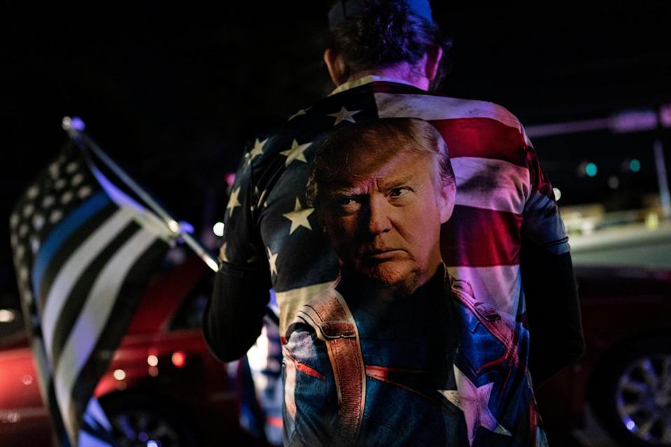 Supporters of US President Donald Trump rally outside Walter Reed National Military Medical Center (Getty Images)