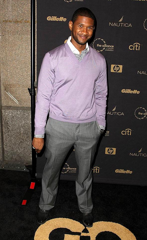 "A pastel-wearing Usher arrives at GQ magazine's ""Gentlemen's Ball"" at the Edison Ballroom in New York City. Andrew H. Walker/<a href=""http://www.gettyimages.com/"" target=""new"">GettyImages.com</a> - October 15, 2008"