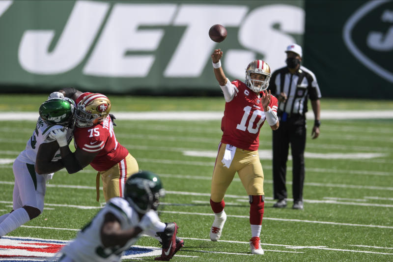 San Francisco 49ers quarterback Jimmy Garoppolo (10) throws a pass during the first half of an NFL football game against the New York Jets, Sunday, Sept. 20, 2020, in East Rutherford, N.J. (AP Photo/Bill Kostroun)