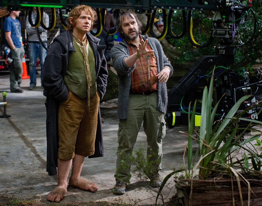 """Martin Freeman and director Peter Jackson on the set of New Line Cinema's """"The Hobbit: An Unexpected Journey"""" - 2012"""