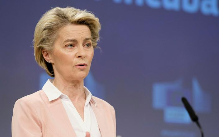 President of the European Commission Ursula von der Leyen pictured a press conference - Thierry Monasse/Getty Images