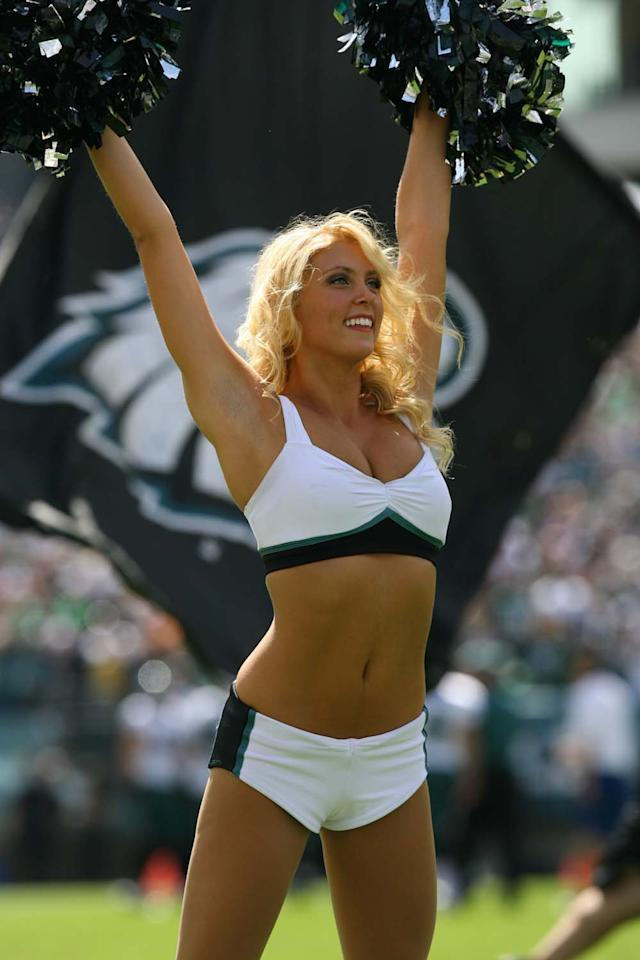 PHILADELPHIA - SEPTEMBER 16: A Philadelphia Eagles cheerleader performs during a game against the Baltimore Ravens on September 17, 2012 at Lincoln Financial Field in Philadelphia, Pennsylvania. The Eagles won 24-23. (Photo by Hunter Martin/Philadelphia Eagles/Getty Images)