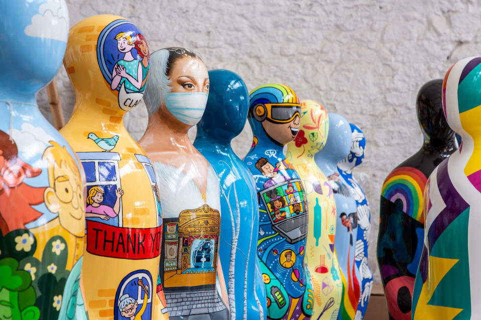 Some of the sculptures in the Gratitude exhibition (David Oates/PA)