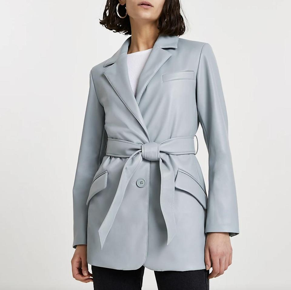 <p>You'll feel confident and stylish in this <span>River Island Faux Leather Dad Blazer</span> ($130).</p>
