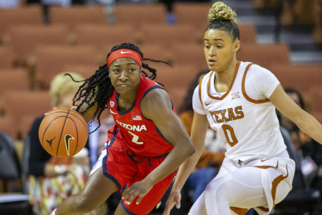 FILE - In this Sunday, Nov. 17, 2019, file photo, Arizona guard Aari McDonald (2) drives around guard Celeste Taylor (0) during an NCAA college basketball game in Austin, Texas. McDonald has chosen to return to school for her senior year instead of entering the WNBA draft, scheduled for April 17, 2020. (AP Photo/Stephen Spillman, File)