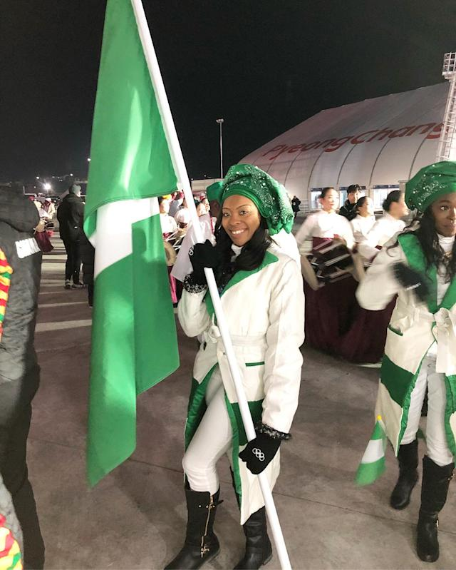<p>Ngozi Onwumere Nigeria, bobsled: Arise, O Compatriots!! #Teamnigeria in the building! words cant even explain… TRULY BLESSED #openingceremony (Photo via Instagram/ngozi.onwumere) </p>