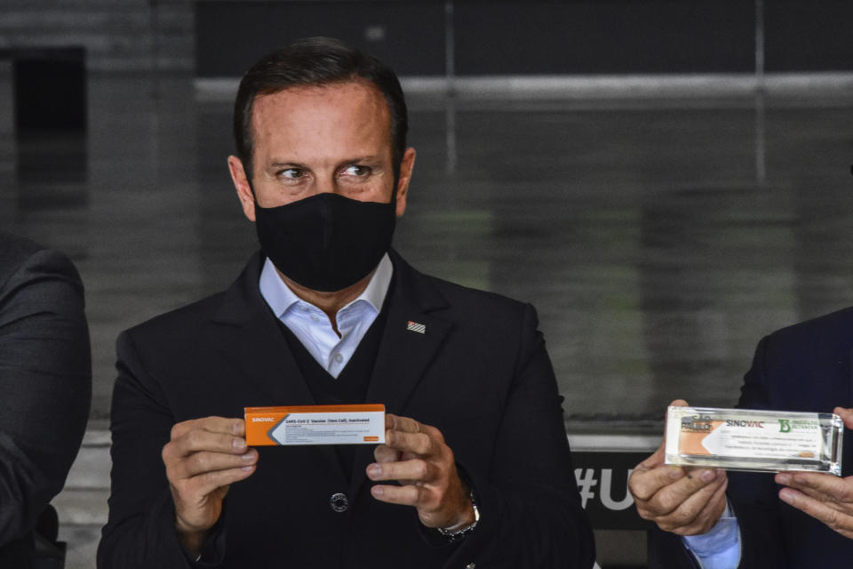 João Doria, (PSDB) Governor of São Paulo, during a press conference on measures to combat the Coronavirus, (COVID-19) this Wednesday, September 23, 2020 at the Palácio dos Bandeirantes in Sao Paulo, Brazil. During the press conference, Governor João Doria spoke about the veto of the public returning to football stadiums in São Paulo and about the CoronaVac vaccine. (Photo: Roberto Casimiro/Fotoarena/Sipa USA)(Sipa via AP Images)