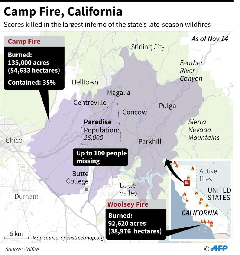 Map showing the ongoing deadly Camp Fire in California, updated Thursday. (AFP Photo/Laurence CHU)