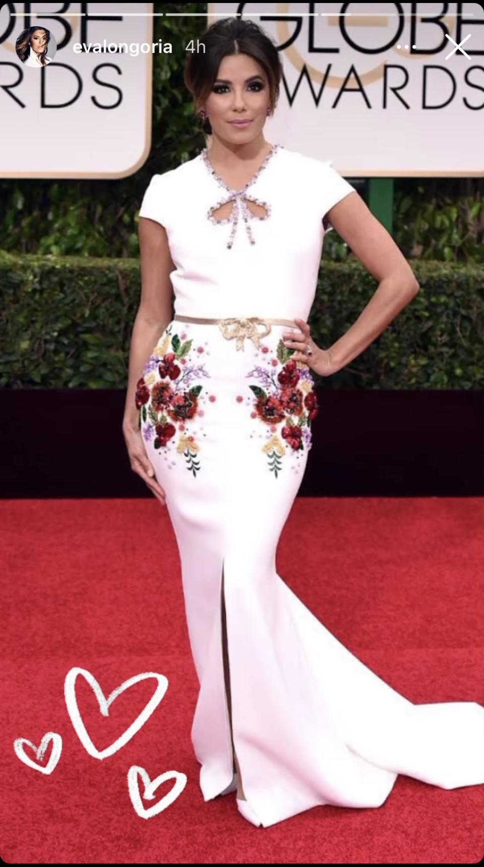 <p>For her final fashion throwback, Longoria showed off a look from the 2016 Golden Globes. It may have been the dead of winter, but her beaded George Hobeika dress had us all dreaming of spring. Image via Instagram/EvaLongoria.</p>