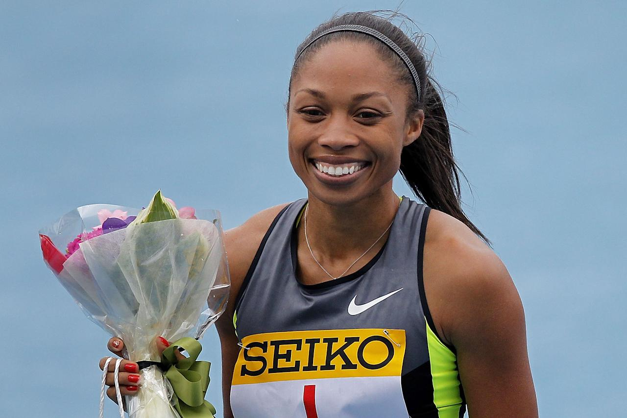 KAWASAKI, JAPAN - MAY 06:  Allyson Felix of the United States celebrates after winning the Women's 100m during the Seiko Golden Grand Prix Kawasaki at Todoroki Stadium on May 6, 2012 in Kawasaki, Japan.  (Photo by Kiyoshi Ota/Getty Images)