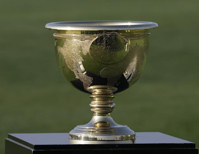The Presidents Cup is displayed before a practice round for the Presidents Cup golf tournament at Muirfield Village Golf Club Tuesday, Oct. 1, 2013, in Dublin, Ohio. (AP Photo/Darron Cummings)