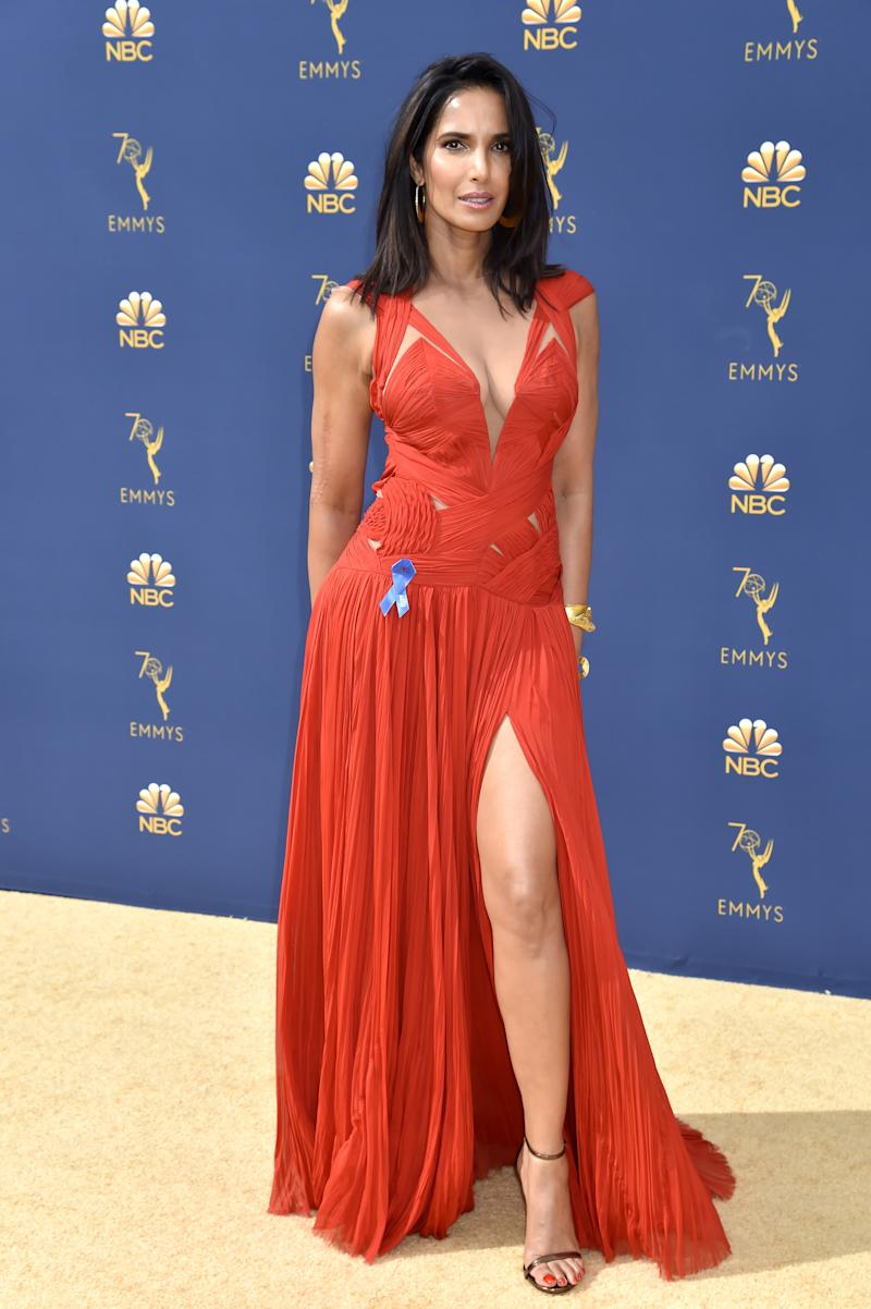 Padma Lakshmi Re-Wore a Plunging Red J. Mendel Gown to the 2018 Emmys