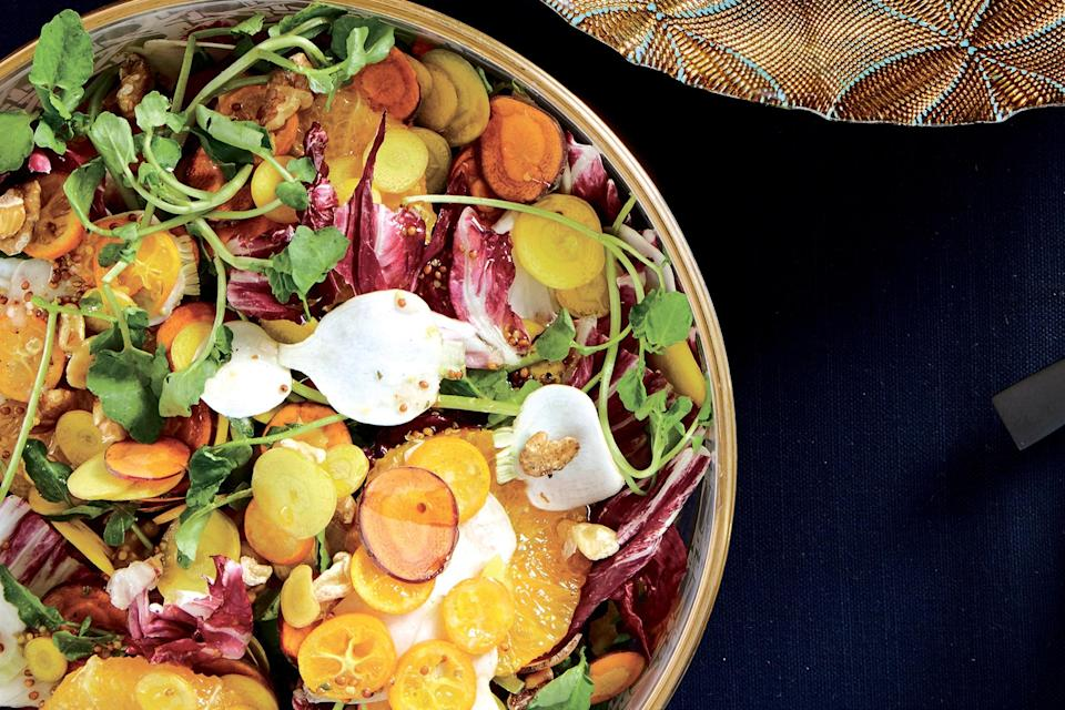 """Just because tomato season's over doesn't mean you have to swear off salads. Radicchio adds nice color to this one, but endive or escarole hearts work well in the mix, too. <a href=""""https://www.epicurious.com/recipes/food/views/bitter-greens-with-carrots-turnips-and-oranges?mbid=synd_yahoo_rss"""" rel=""""nofollow noopener"""" target=""""_blank"""" data-ylk=""""slk:See recipe."""" class=""""link rapid-noclick-resp"""">See recipe.</a>"""