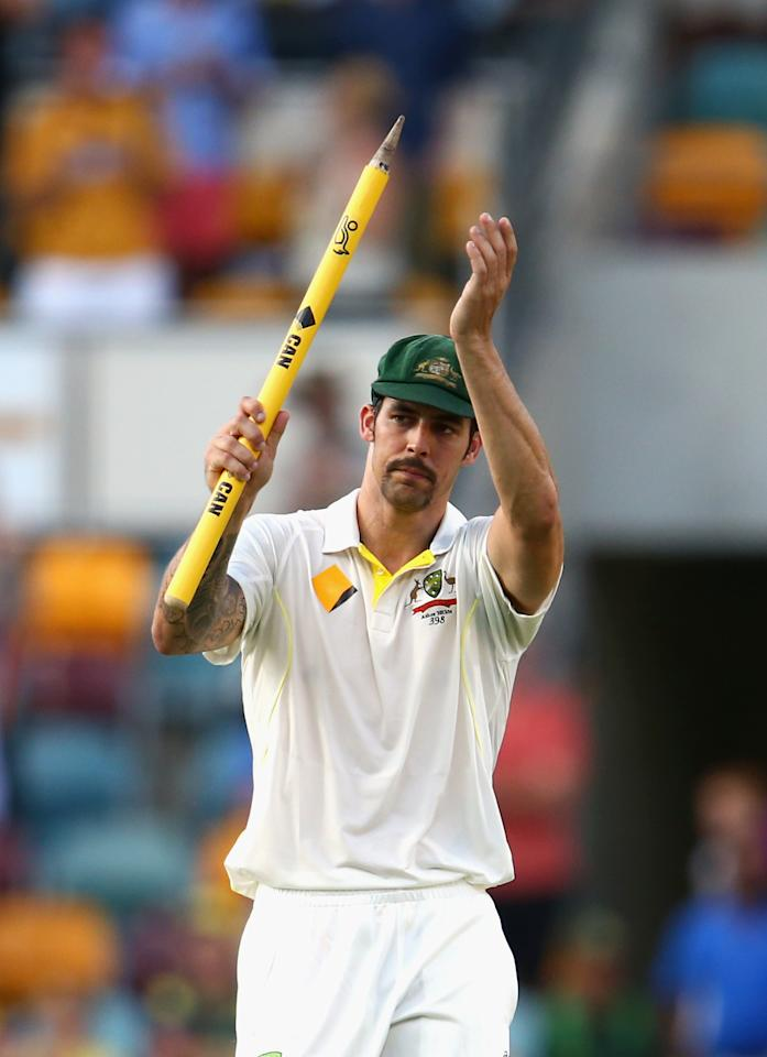 BRISBANE, AUSTRALIA - NOVEMBER 24:  Mitchell Johnson of Australia celebrates victory during day four of the First Ashes Test match between Australia and England at The Gabba on November 24, 2013 in Brisbane, Australia.  (Photo by Ryan Pierse/Getty Images)