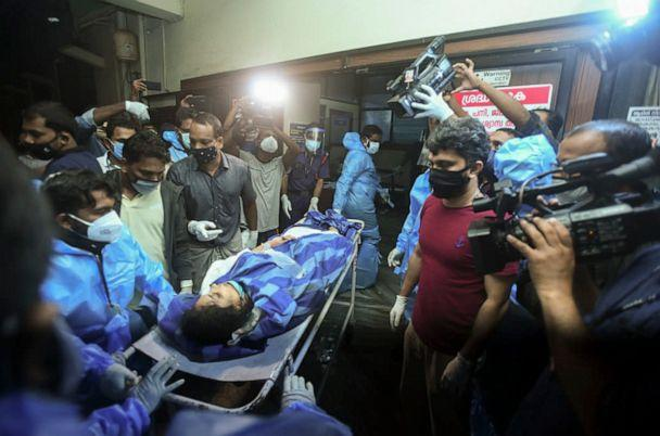 PHOTO: A person injured after an Air India Express flight skidded off a runway while landing at the Kozhikode airport is brought for treatment to the Medical College Hospital in Kozhikode, Kerala state, India, Aug. 7, 2020. (AP)
