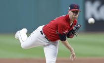 Cleveland Indians starting pitcher Shane Bieber delivers in the first inning of the team's baseball game against the Philadelphia Phillies, Friday, Sept. 20, 2019, in Cleveland. (AP Photo/Tony Dejak)