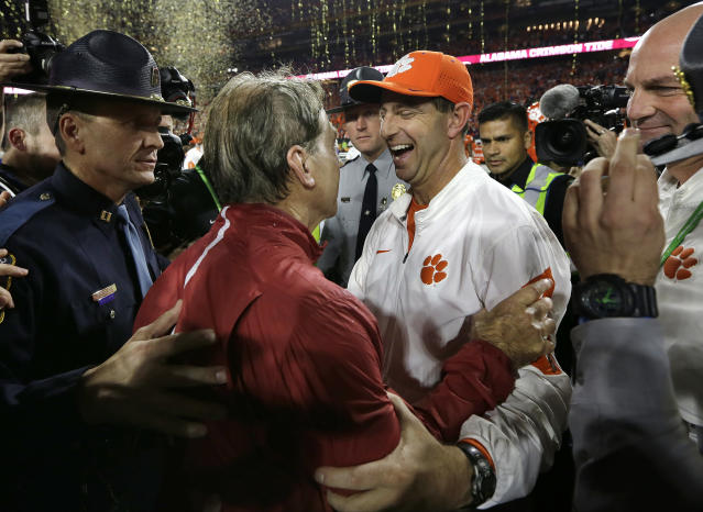 Clemson coach Dabo Swinney will be present at Bryant Denny Stadium when Alabama honors its 1992 national championship team. Swinney was a receiver on the team. (AP Photo/David J. Phillip, FIle)