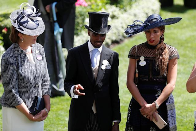 Horse Racing - Royal Ascot - Ascot Racecourse, Ascot, Britain - June 20, 2018 Mo Farah and wife Tania Nell Action Images via Reuters/Paul Childs
