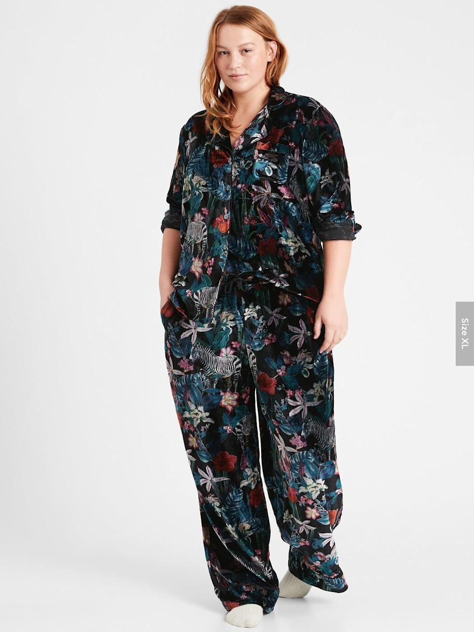 <p>This <span>Banana Republic Velvet Pajama Set</span> ($134) is pretty amazing. Maybe with the velvet material you can get away with wearing it out!</p>