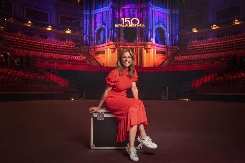 WARNING: Embargoed for publication until 00:01:00 on 27/05/2021 - Programme Name: BBC Proms - TX: n/a - Episode: Launch (No. n/a) - Picture Shows: *BBC Proms 2021 Launch* Proms presenter Katie Derham, at the Royal Albert Hall. Katie Derham - (C) BBC - Photographer: Jude Edginton
