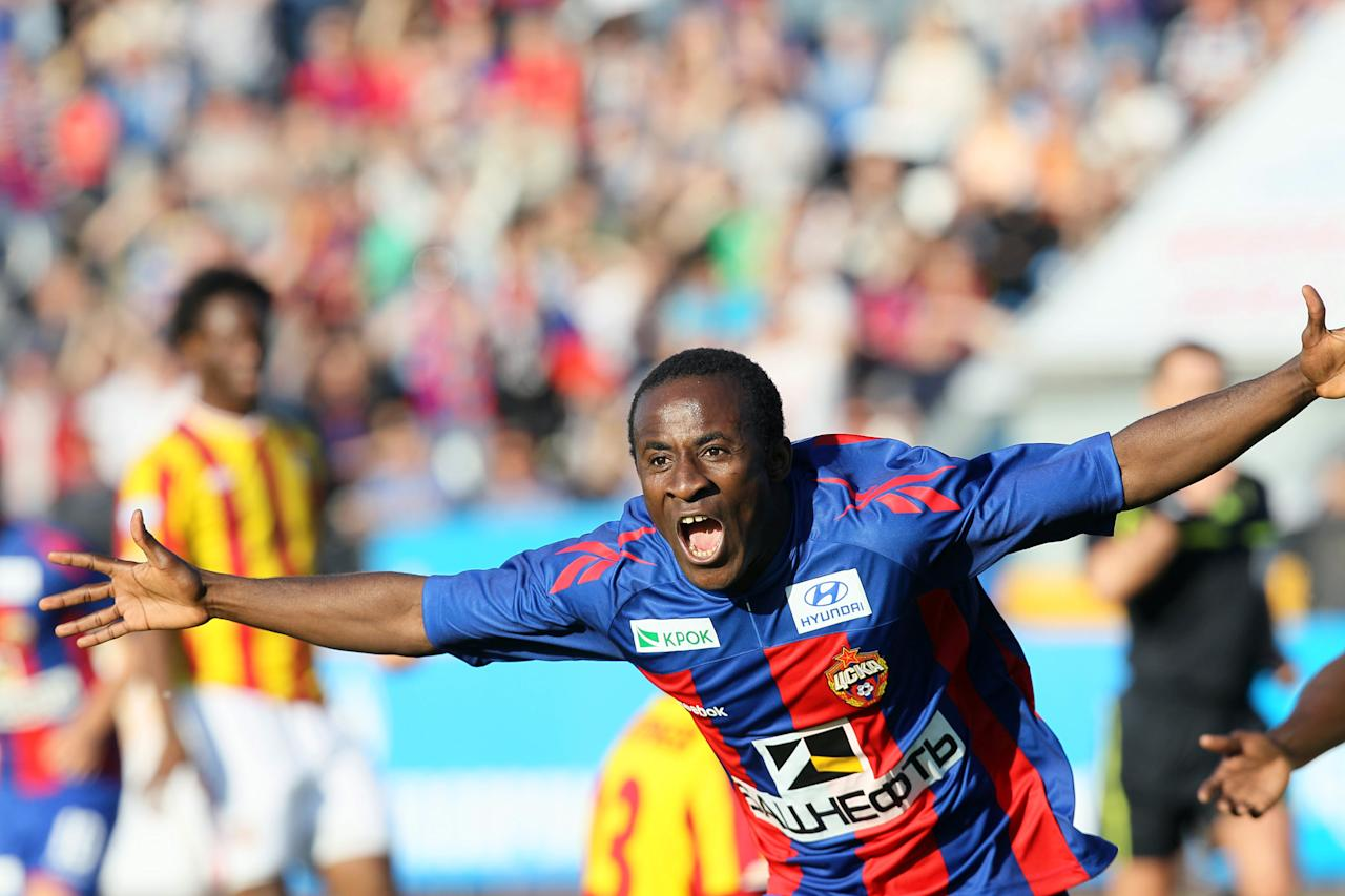 Seydou Doumbia of CSKA Moscow celebrates a goal against FC Alania on May 22, 2011  in Yaroslavl during their Cup of Russia final match. AFP PHOTO / STR (Photo credit should read STR/AFP/Getty Images)