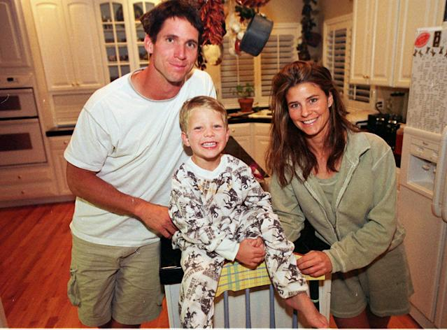 Former Denver Broncos wide receiver Ed McCaffrey, left, with then 5-year-old son Christian, and wife Lisa in 2000. (AP)