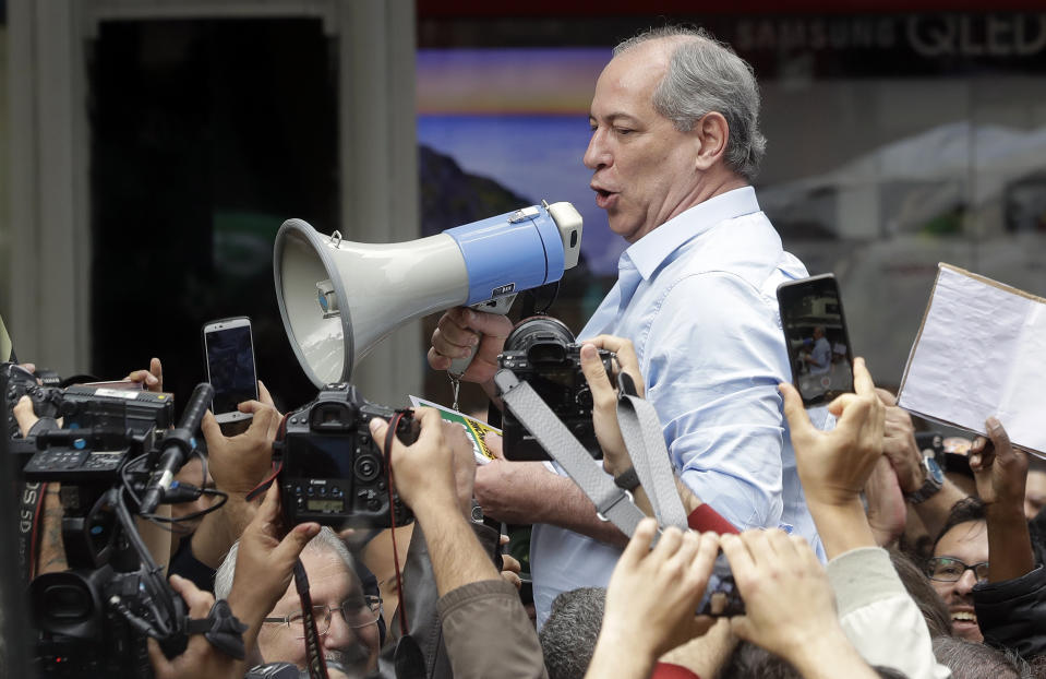 Ciro Gomes, who is running for president with the Democratic Labor Party, speaks to supporters as he campaigns in Sao Paulo, Brazil, Tuesday, Sept. 4, 2018. Brazil will hold general elections on Oct. 7. (AP Photo/Andre Penner)