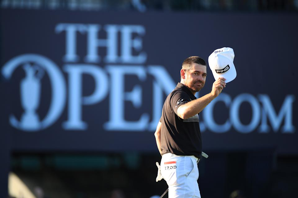 SANDWICH, ENGLAND - JULY 16: Louis Oosthuizen of South Africa on the 18th green during Day Two of The 149th Open at Royal St George's Golf Club on July 16, 2021 in Sandwich, England. (Photo by Oisin Keniry/Getty Images)