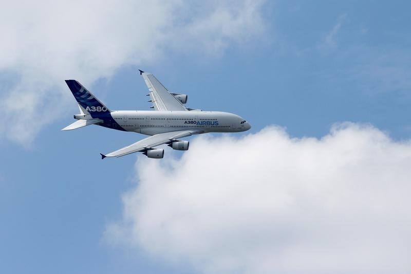 An Airbus A380, the world's largest jetliner paticipates in flying display during the 51st Paris Air Show at Le Bourget airport near Paris