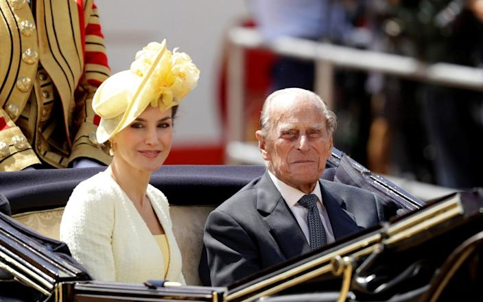 Prince Philip rides in a carriage with Spain's Queen Letizia, following a ceremonial welcome on Horseguards Parade, in central London - REUTERS/Matt Dunham/Pool