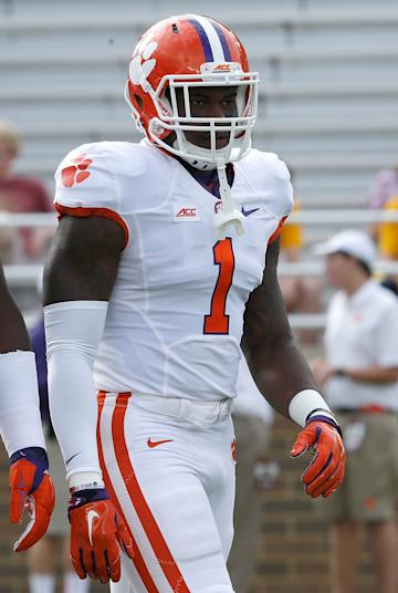 CHESTNUT HILL, MA - OCTOBER 18: Ebenezer Ogundeko #1 of the Clemson Tigers lines up before a game with the Boston College Eagles at Alumni Stadium on October 18, 2014 in Chestnut Hill, Massachusetts. (Photo by Jim Rogash/Getty Images)