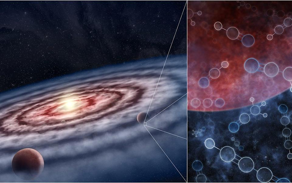 An artist's impression of the gas and dust in the disk surrounding the young star. The inset image, right, shows a mix of both simple and complex molecules in the vicinity of still-forming planets - M.Weiss/Centre for Astrophysics/Harvard & Smithsonian