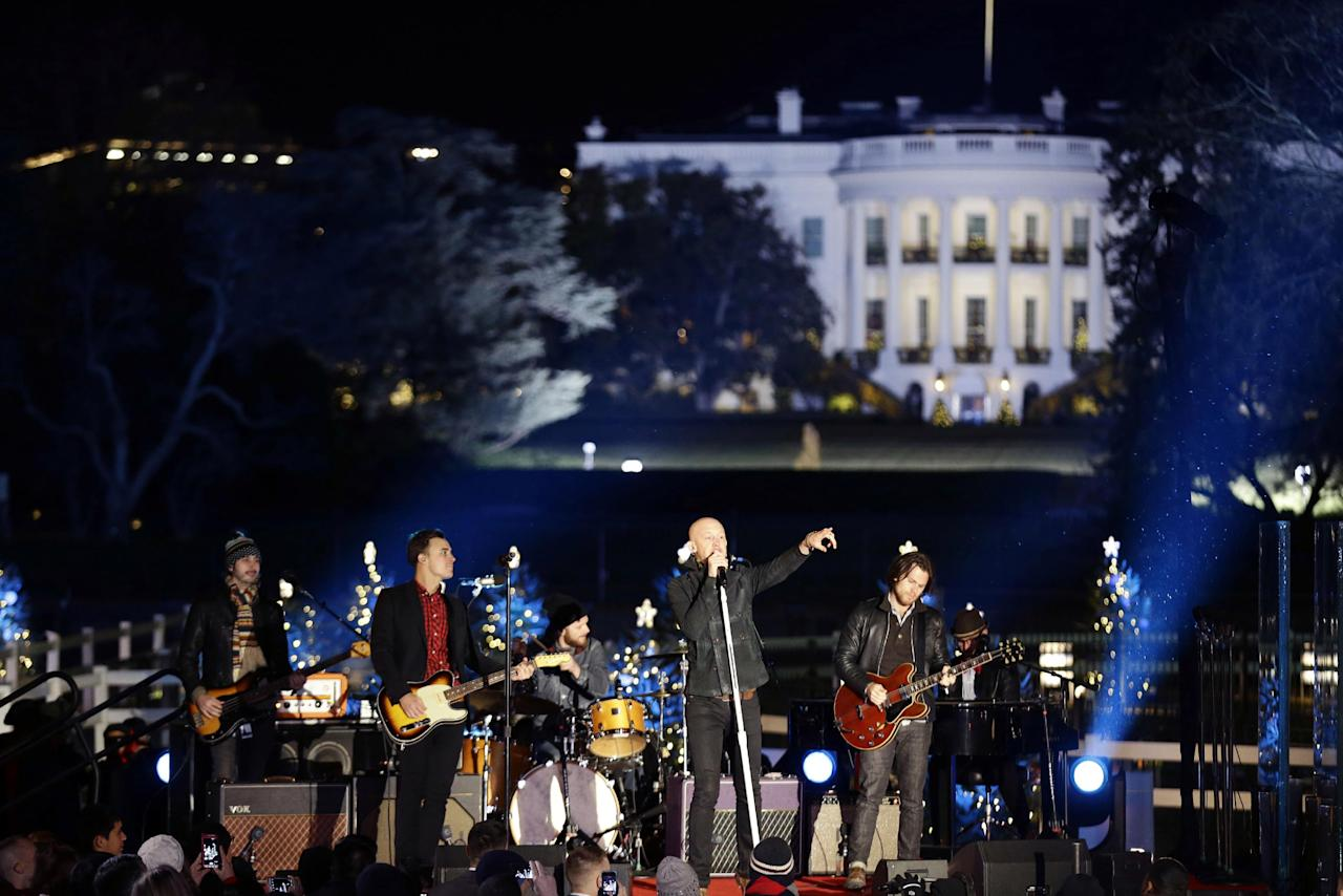 The Fray performs during the 90th annual National Christmas Tree Lighting ceremony on the Ellipse south of the White House, Thursday, Dec. 6, 2012 in Washington. (AP Photo/Alex Brandon)